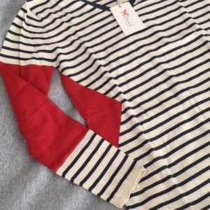 Sweaters - NEW Orange & Navy Striped Geo Sweater